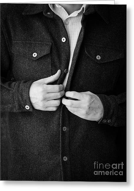 Man Unbuttoning His Shirt Greeting Card by Edward Fielding