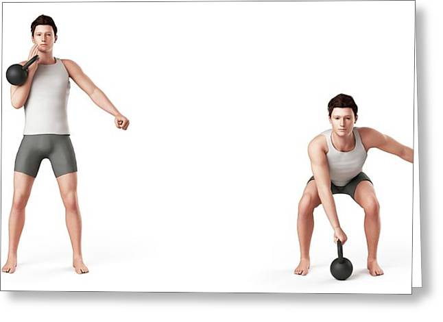 Man Using Kettlebell Greeting Card