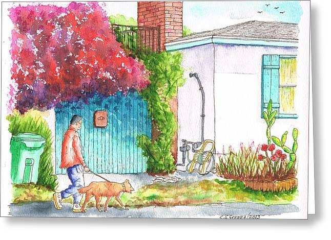 Man Walking A Dog In West Hollywood - California Greeting Card