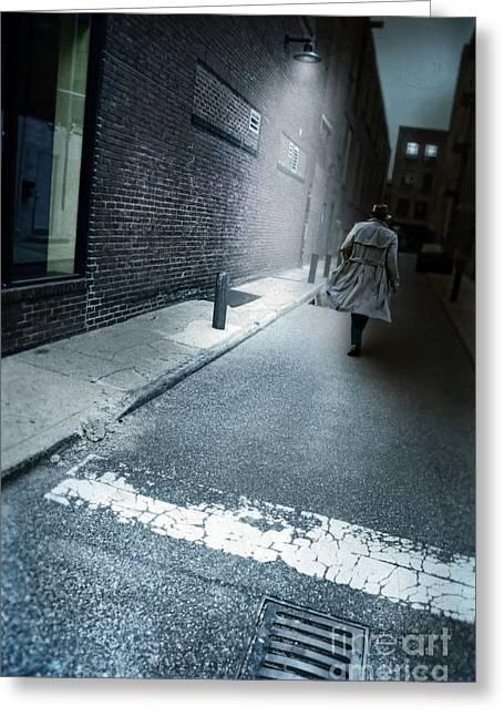 Man Walking Down A Dark Alley Greeting Card by Jill Battaglia