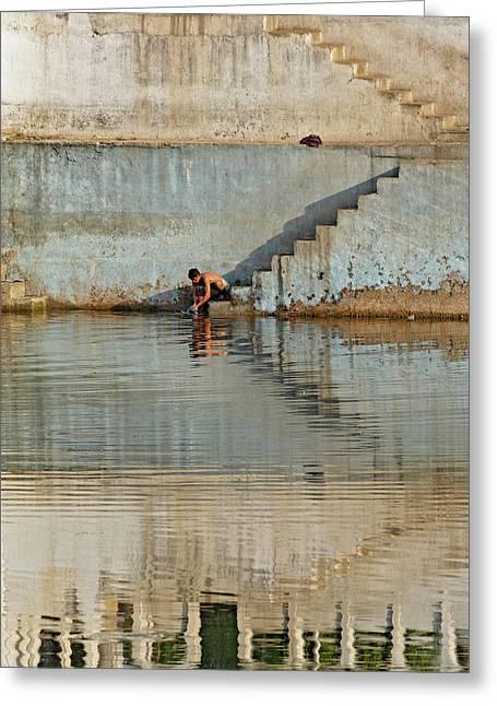 Man Washing Himself / Udaipur, India Greeting Card