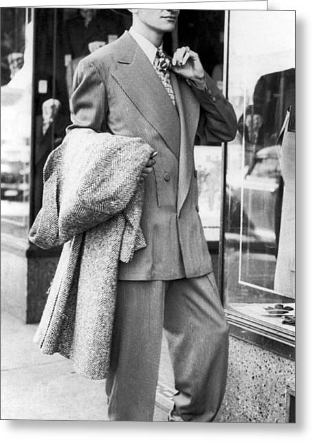 Man Wearing A Zoot-suit Greeting Card by Underwood Archives