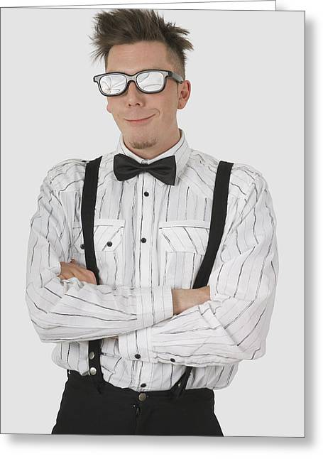 Man Wearing Sunglasses Suspenders And Greeting Card by Stock Foundry