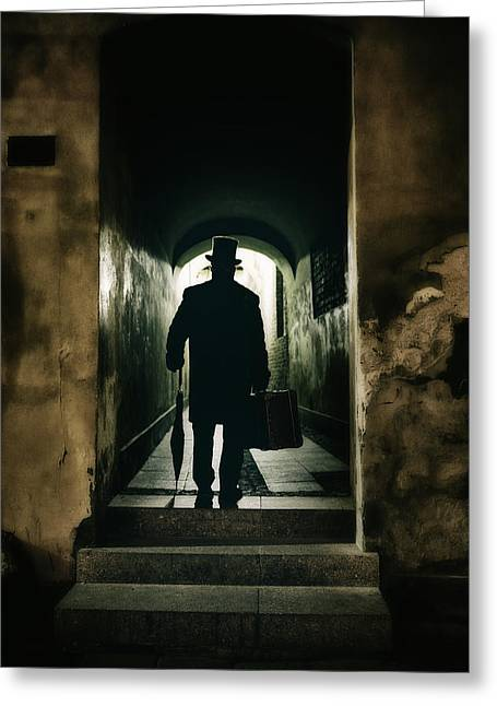 Back View Of A Victorian Man Wearing Top Hat And Long Coat In The Alley Greeting Card