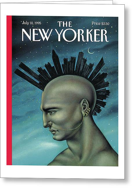Man With A Mohawk That Resembles The Nyc Skyline Greeting Card