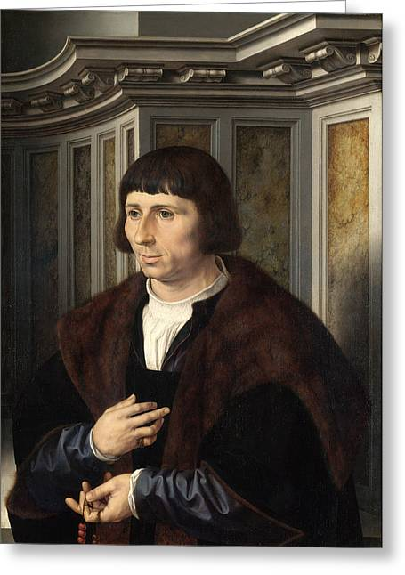 Man With A Rosary Greeting Card by Jan Gossaert