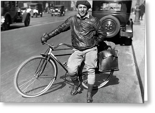 Man With A Traveling Bicycle Greeting Card