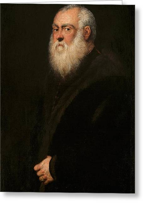 Man With A White Beard Greeting Card by Tintoretto