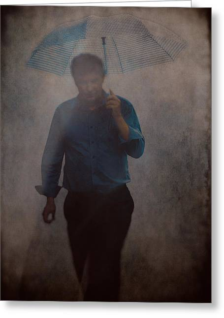 Man With An Umbrella Greeting Card