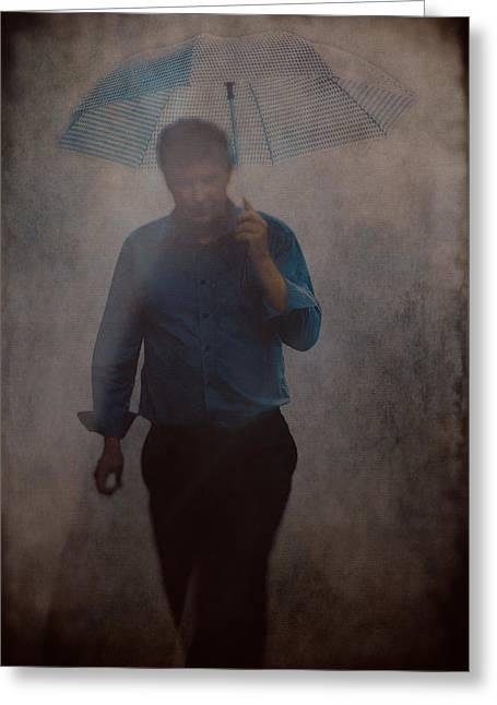 Man With An Umbrella Greeting Card