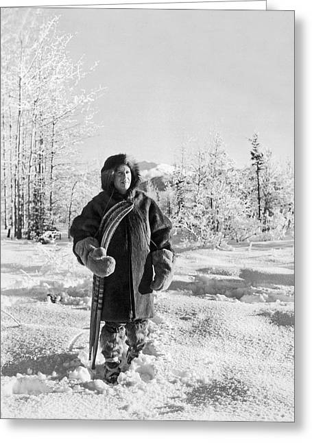 Man With Parka And Snowshoes Greeting Card by Underwood Archives