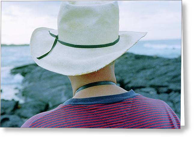 Man With Straw Hat Galapagos Islands Greeting Card