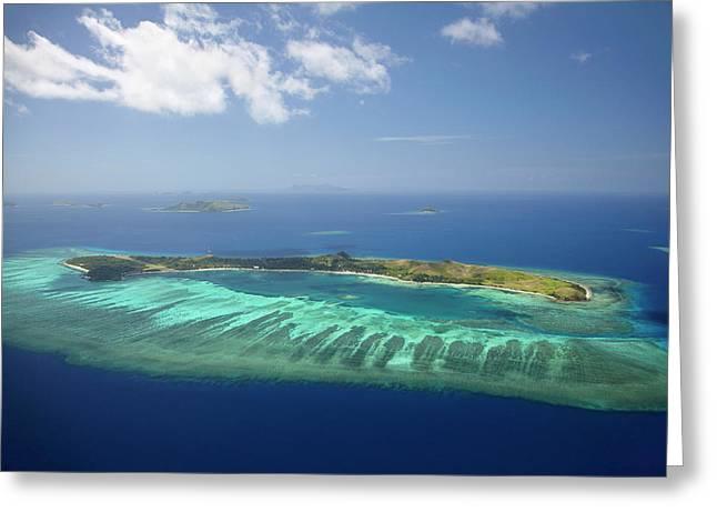 Mana Island And Coral Reef, Mamanuca Greeting Card