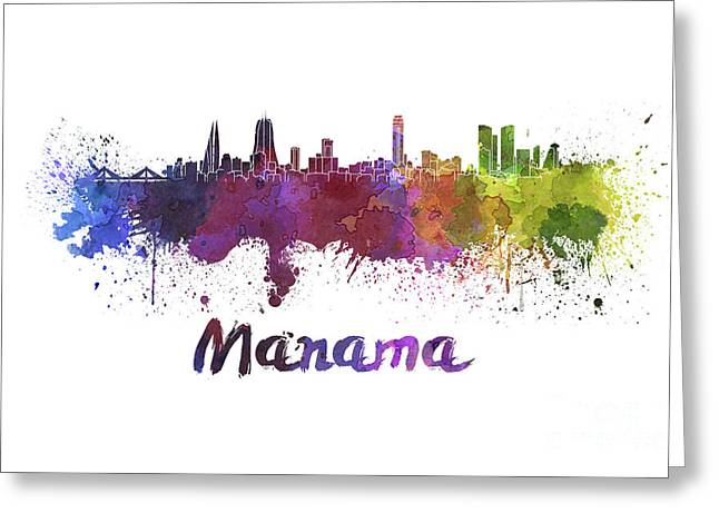 Manama Skyline In Watercolor Greeting Card by Pablo Romero