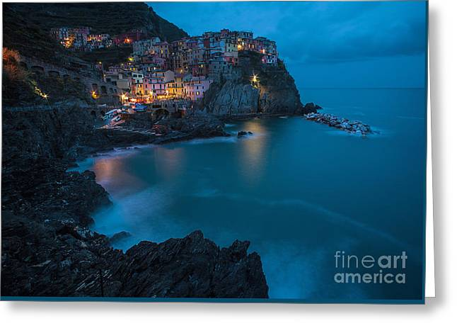Manarola Calm Serenity Greeting Card by Mike Reid