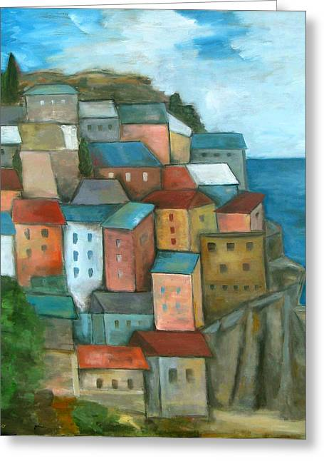 Manarola Cinque Terre Greeting Card by Trish Toro