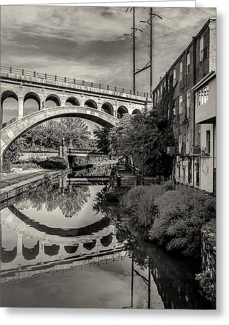 Manayunk Bridge And Canal In Sepia Greeting Card by Bill Cannon