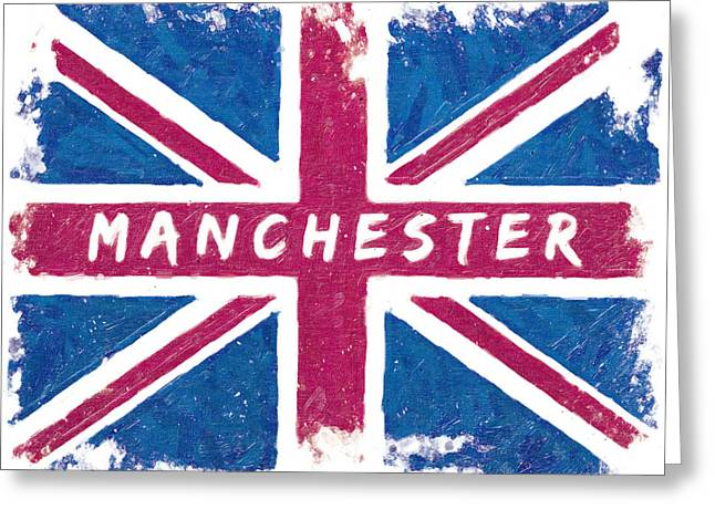 Manchester Distressed Union Jack Flag Greeting Card