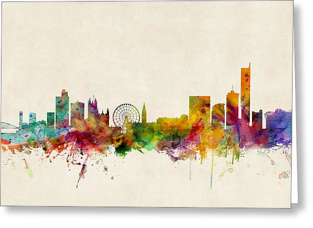 Manchester England Skyline Greeting Card by Michael Tompsett
