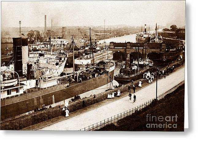 Manchester Ship Canal Latchford Locks England Greeting Card by The Keasbury-Gordon Photograph Archive