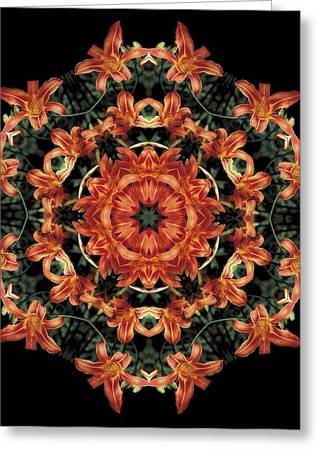 Greeting Card featuring the photograph Mandala Daylily by Nancy Griswold
