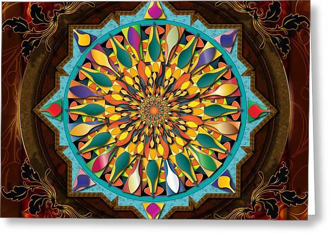 Mandala Droplets Greeting Card by Bedros Awak