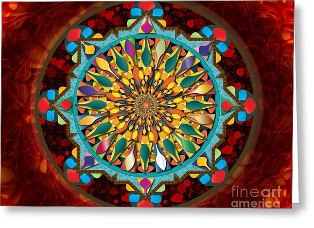 Mandala Droplets Sp Greeting Card by Bedros Awak
