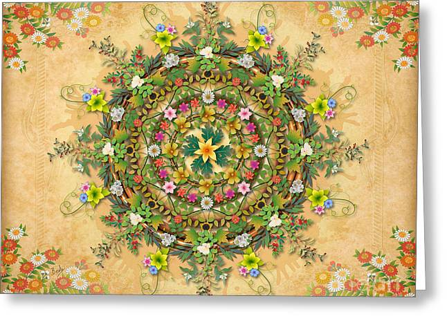 Mandala Flora Sp Greeting Card by Bedros Awak