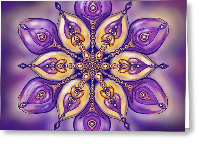 Mandala For M. A. Greeting Card by Louise Lamirande