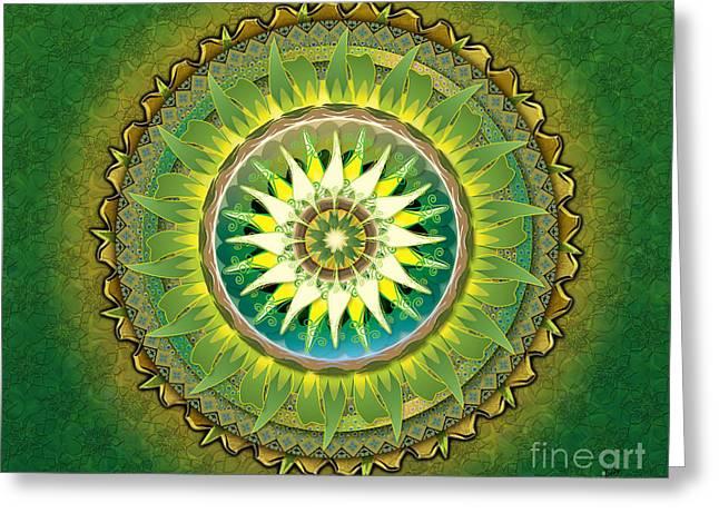 Mandala Green Sp Greeting Card by Bedros Awak