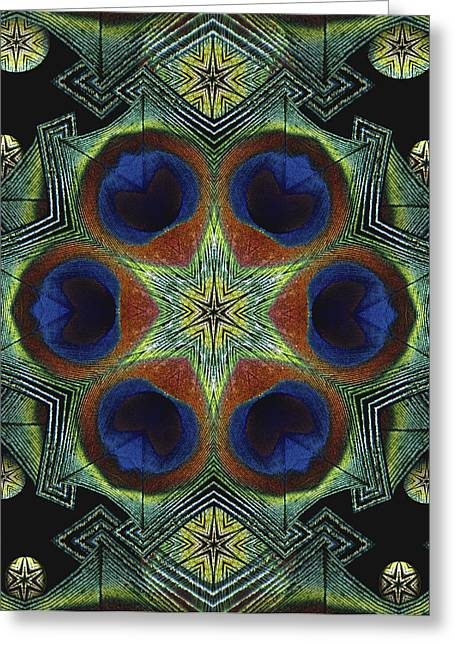 Greeting Card featuring the digital art Mandala Peacock  by Nancy Griswold