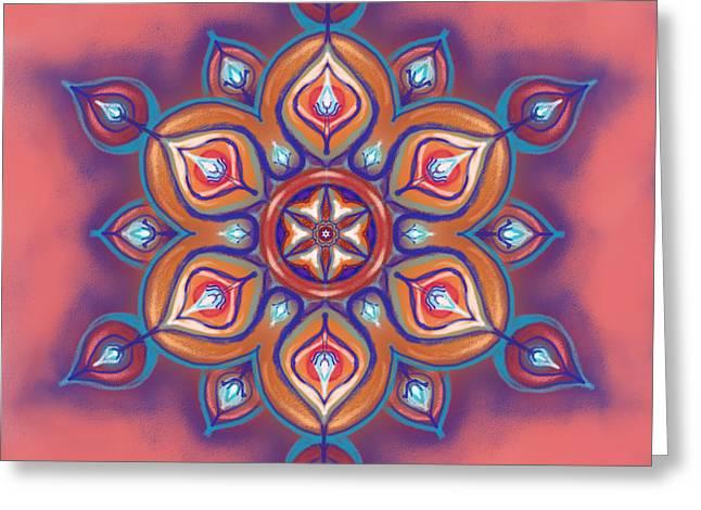 Mandala - Soft Pastel Greeting Card by Louise Lamirande