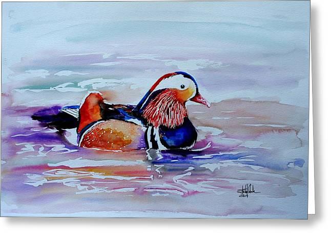 Mandarin Duck Greeting Card by Isabel Salvador