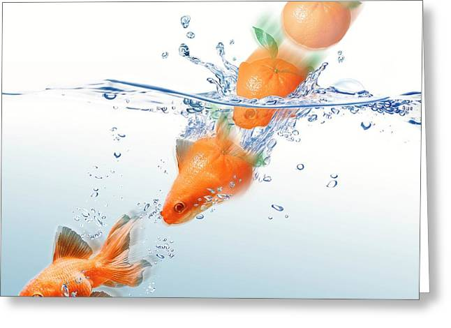 Mandarin Turning Into Gold Fish Greeting Card by Leonello Calvetti
