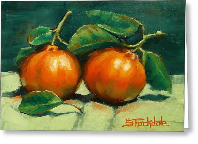 Greeting Card featuring the painting Bush Mandarins by Margaret Stockdale