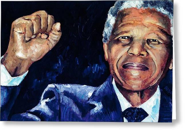 Mandela - Amandla Greeting Card by Alan Levine