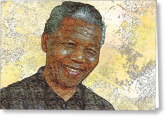 Mandela Greeting Card by Anthony Caruso
