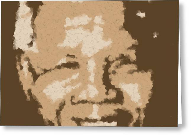 Mandela South African Icon  Brown Symbolizes High Ethical Standards And He Is Rewarded Le Prix De Le Greeting Card by Asbjorn Lonvig