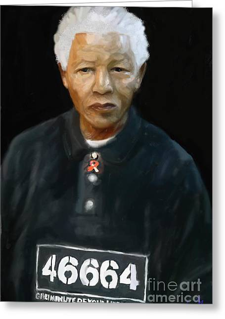 Greeting Card featuring the digital art Mandela by Vannetta Ferguson