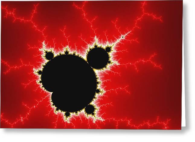 Mandelbrot Fractal Art Black White And Bold Red Greeting Card by Matthias Hauser