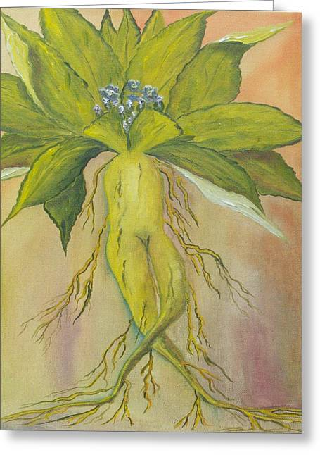 Greeting Card featuring the painting Mandrake by Conor Murphy