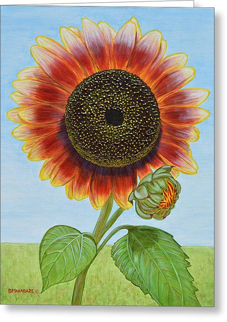 Mandy's Magnificent Sunflower Greeting Card by Donna  Manaraze