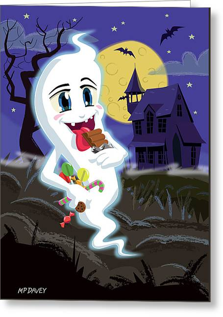 Manga Sweet Ghost At Halloween Greeting Card