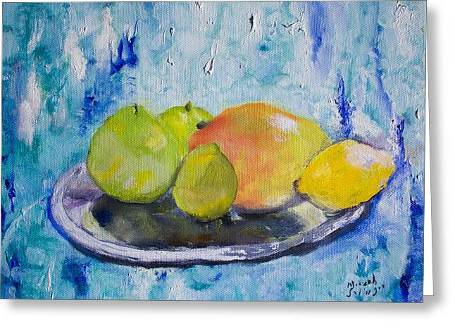 Greeting Card featuring the painting Mango by Aleezah Selinger