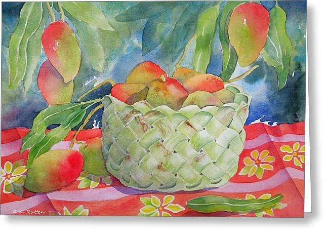 Mango Harvest Greeting Card by Kathleen Rutten