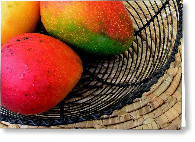 Mango In A Black Wire Basket Greeting Card by James Temple