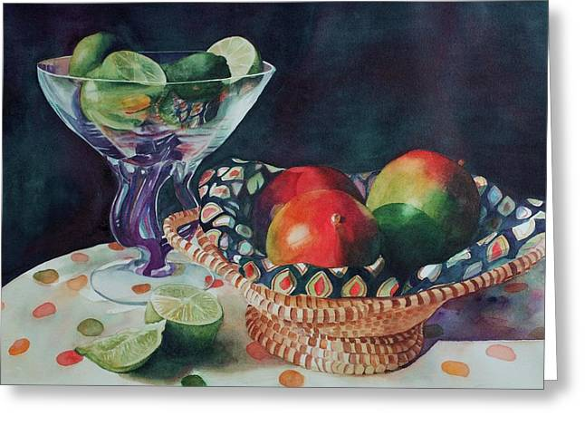 Mango With A Twist Of Lime Greeting Card by Leslie Berman