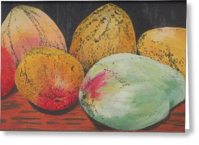 Greeting Card featuring the painting Mangoes On The Barbie by Hilda and Jose Garrancho