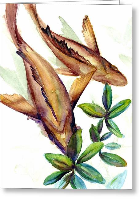 Greeting Card featuring the painting Mangrove Snapper II by Ashley Kujan