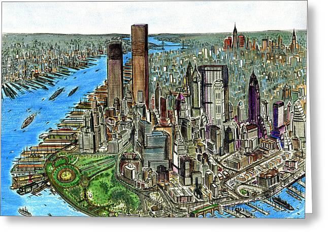 New York Downtown Manhattan 1972 Greeting Card